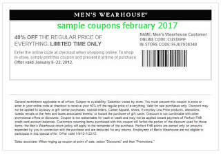 Men's Wearhouse coupons february 2017