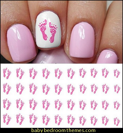 Pink Baby Footprints Water Slide Nail Art Decals