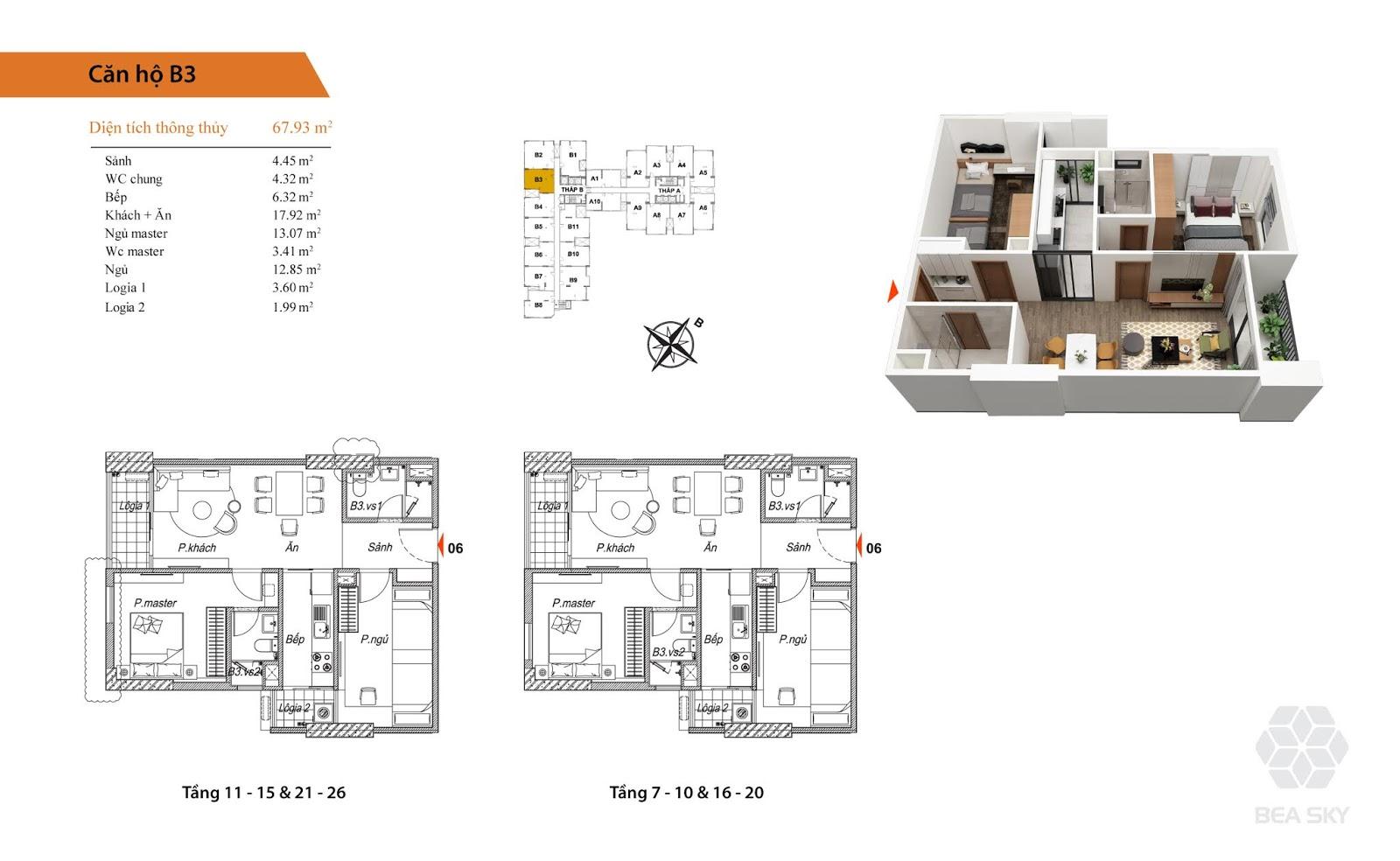 Thiết kế căn B3 chung cư Bea sky nguyễn xiển
