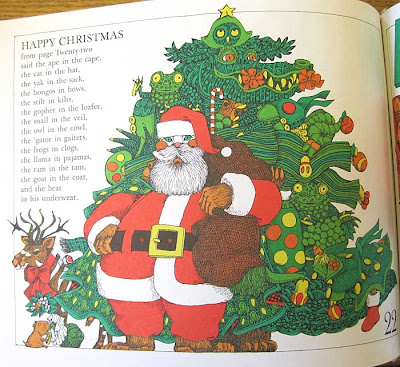 Page illustration with Christmas tree made of many other objects and an ape in a Santa suit