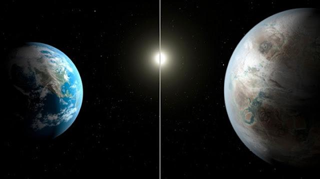 comparação entre planeta Terra e irmão gêmeo