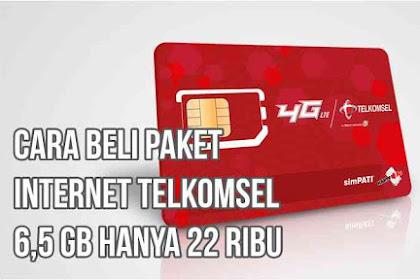 Cara Beli Paket Internet Telkomsel 6,5 GB hanya 22 ribu