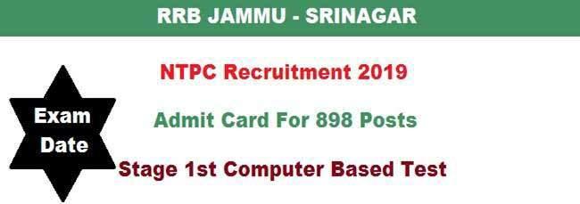 RRB Jammu-Srinagar NTPC Admit Card 2019