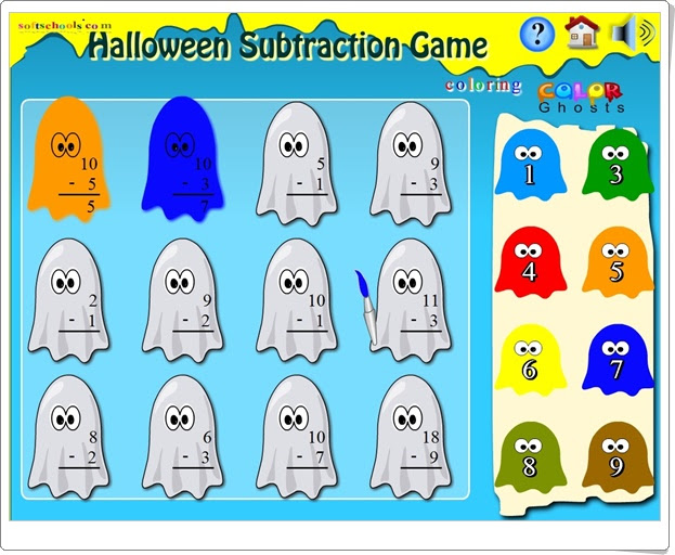 """Halloween Subtraction Game"" (Juego de Resta hasta el número 20)"