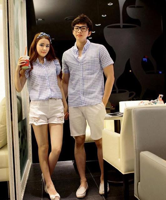 Model Kemeja Lengan Pendek Korea Couple Diskon