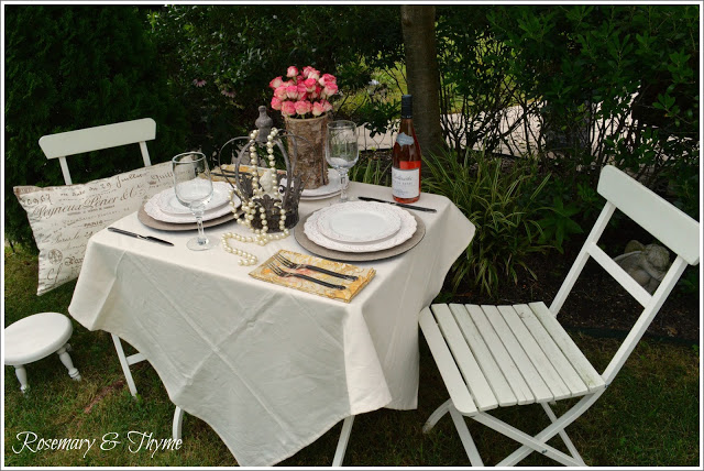 Rosemary & Thyme- Shabby Chic Tablescape-Treasure Hunt Thursday- Blog Link Up Party- From My Front Porch To Yours