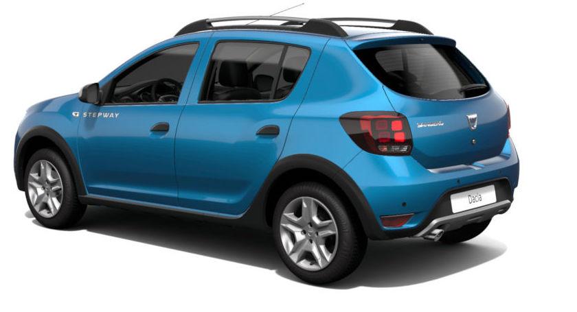 nuova dacia sandero colore blu azzurrite vista laterale profilo posteriore
