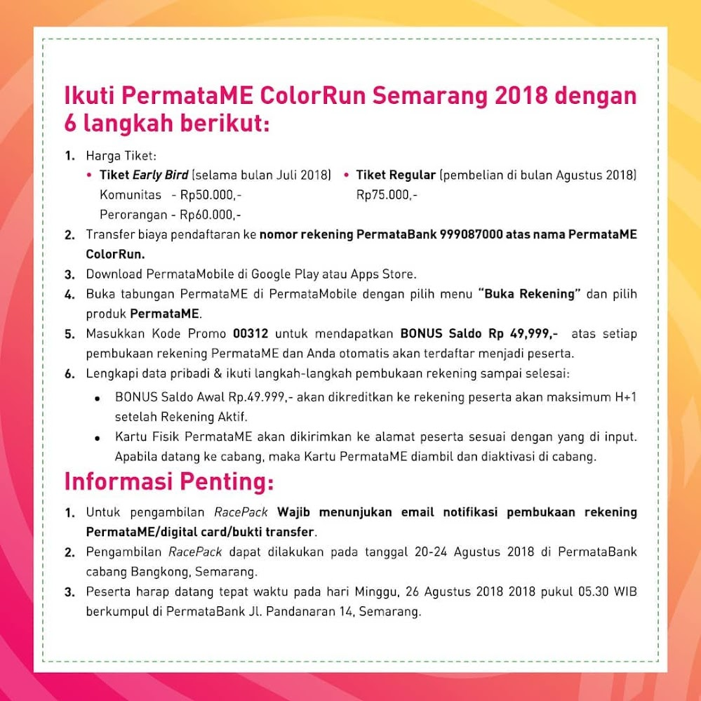 Daftar Permata ME Color Run 2018