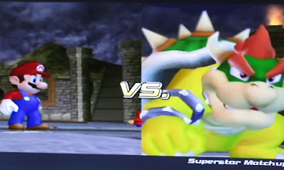 Mario Superstar Baseball VS. Bowser whole screen match-up batter pitcher