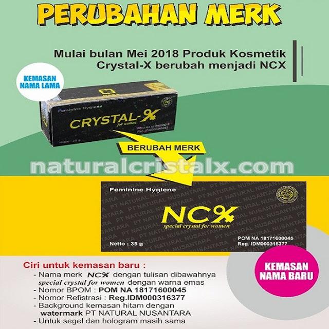 Perubahan merek Cristal X menjadi NCX POM NA 18171600045