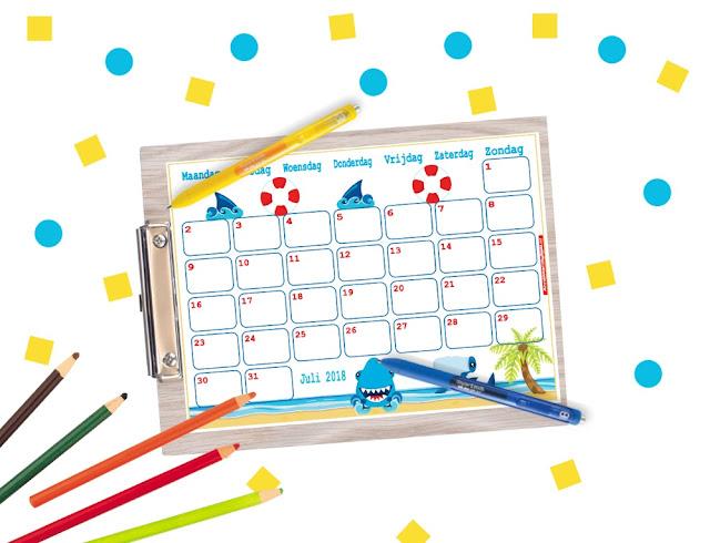 juli 2018 maandkalender printable, vrolijke kalender, gratis printable, gratis kalender voor de zomer, zomer kalender, kalender gratis printen, kalender kopen, kinder kalender, aftelkalender, kalender van Annekoendigitaal