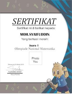 Download Sertifikat Olimpiade Matematika CDR