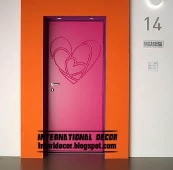 Modern Pink Door Design 2017 Heart Panel