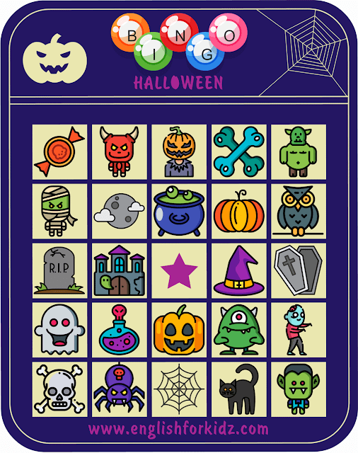 Printable Halloween bingo card