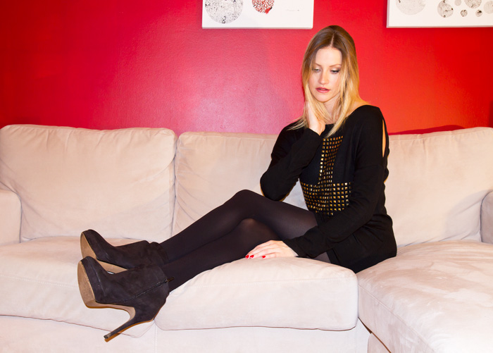 Vancouver Fashion Blogger, Alison Hutchinson, wearing XO Bella gold studded cross sweater dress and Zara black suede ankle booties