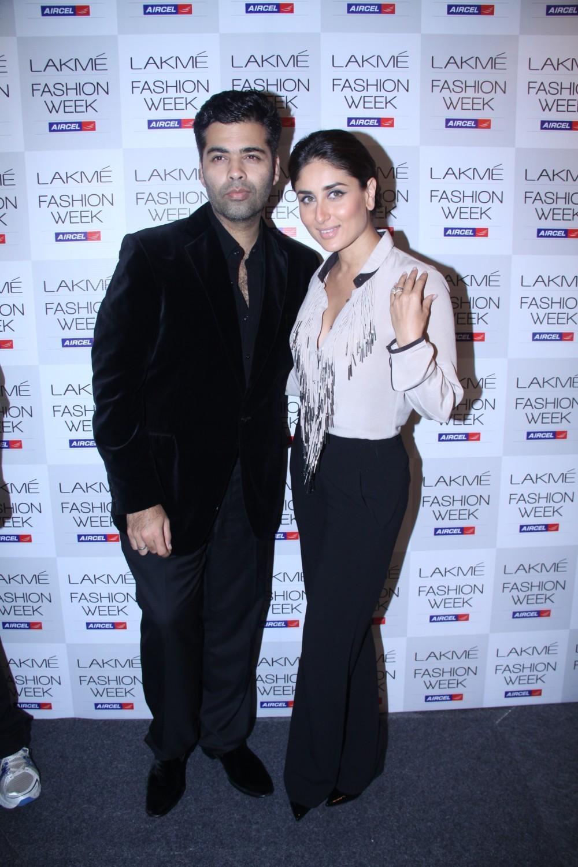 Kareena Kapoor and Karan Johar at Lakme Fashion Week 2012