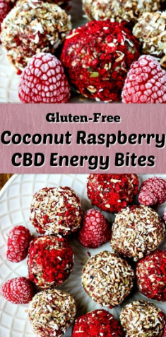 Coconut Raspberry CBD Energy Bites