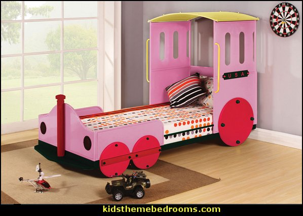 Pink Train Twin Bed  Train themed bedroom decorating ideas - boys bedroom train theme decor  - train themed beds - train themed furniture - train theme bedding - train theme decorations - Thomas the tank bedroom - Thomas the tank theme bed - old world train themed bedroom - vintage style trains wall murals - choo choo trains wall decal stickers - Train Theme furniture