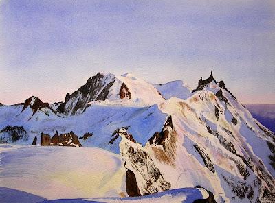 aquarelle-de-l'aiguille-du-midi aquarelles JP Wisniewski
