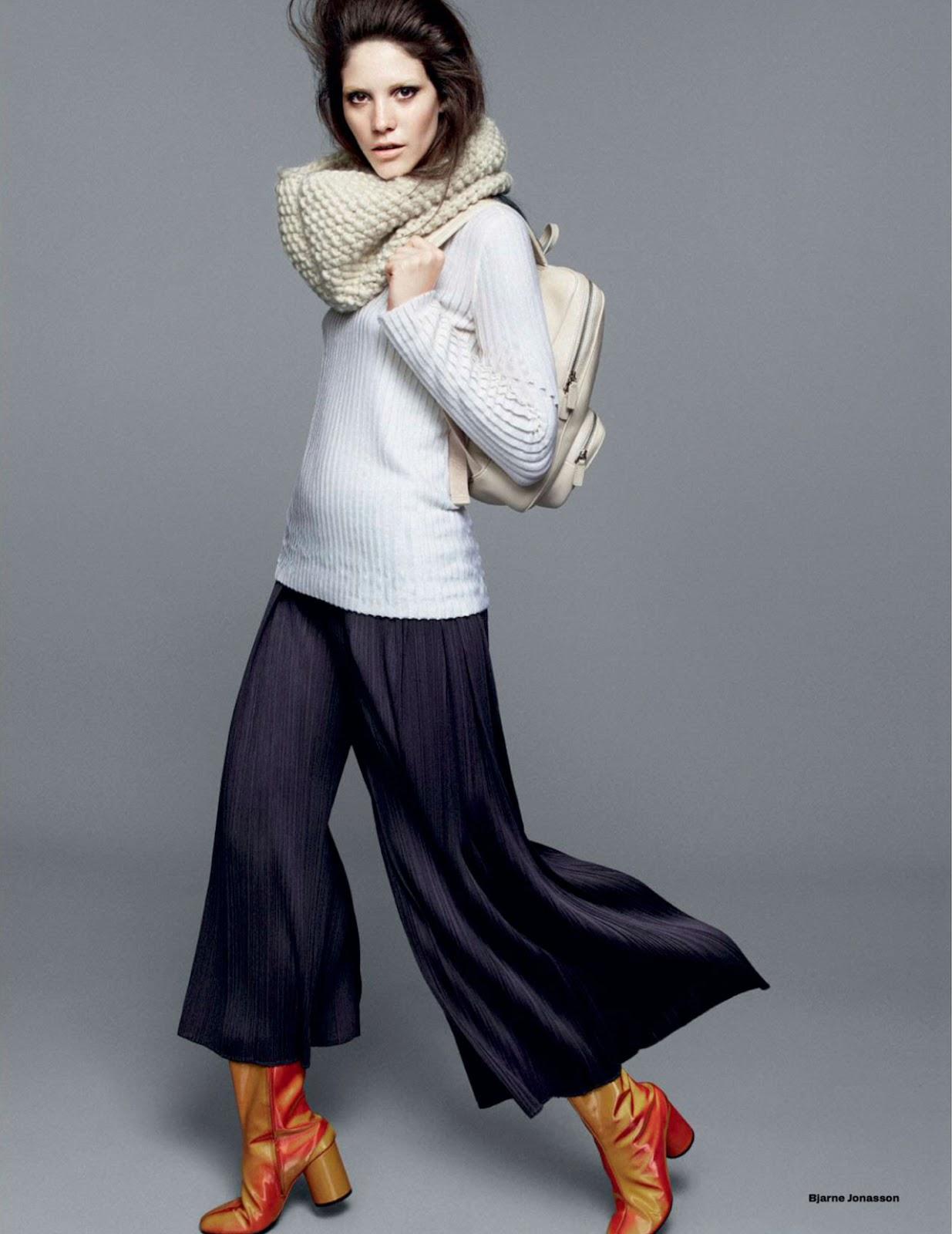 Carla Ciffoni Layers In Fall Knitwear For Elle Uk By: In The Loop: Carla Ciffoni By Bjarne Jonasson For Uk Elle