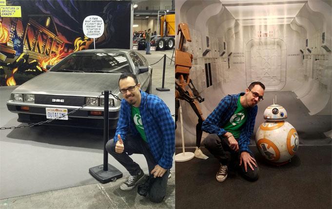 Posando junto a iconos del cine, como el DeLorean a la izquierda y BB8 en la derecha