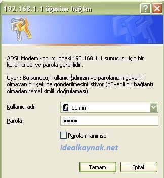 Asus Wireless Modem Varsayılan Kullanıcı Adı ve Şifresi