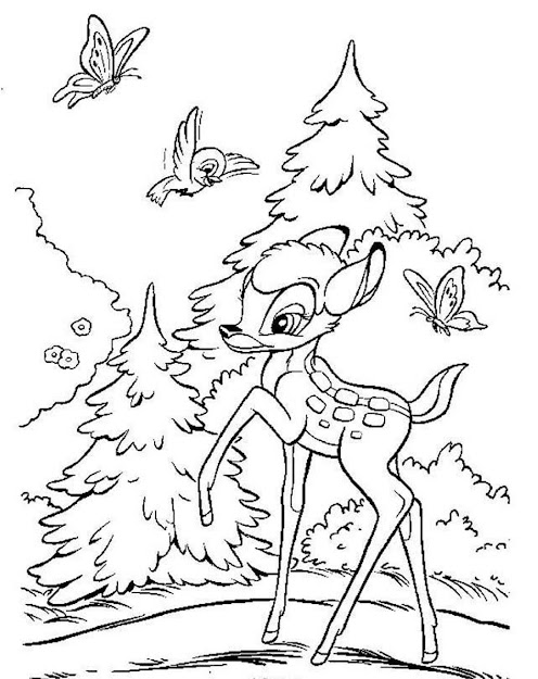 Happy Bambi Coloring Pages