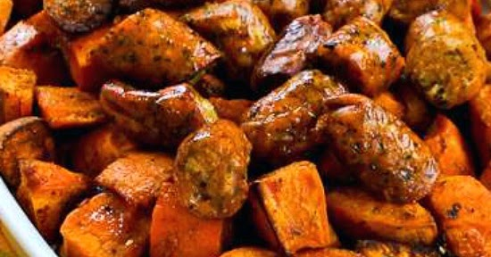... ®: Easy Spicy Roasted Sweet Potatoes and Chicken-Garlic Sausage