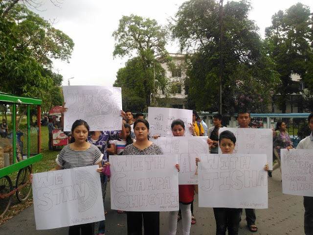 NBU Students Organize Silent Rally in Support of Gorkha Girl Raped and Murdered in ‪‎Assam‬