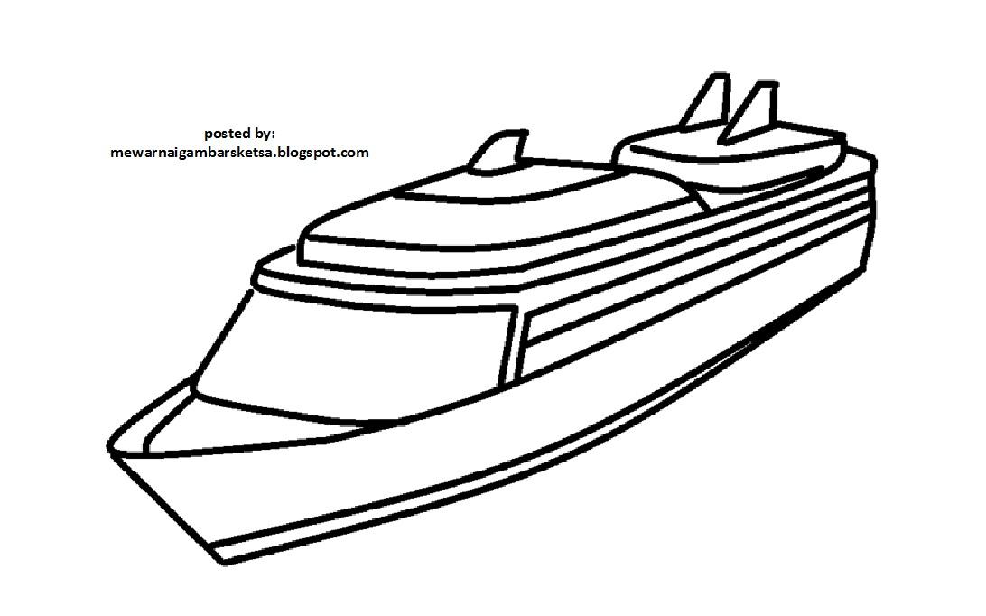 Mewarnai Gambar Mewarnai Gambar Sketsa Transportasi Kapal 3