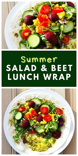 Summer Salad & Baby Beet Lunch Wrap. A colourful, fresh salad wrap with baby beets and pesto. Perfect for packed lunch and lunchbox for vegetarians or vegans. #saladwrap #veganwrap #lunchwrap #vegetarianwrap #sandwich #sandwiches #vegansandwiches #vegetariansandwiches #lunch #veganlunch #dairyfreelunch #salad