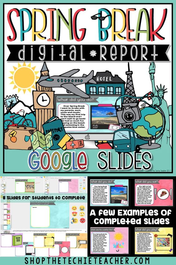 Spring Break Digital Report in Google Drive is a great writing activity for students to report back about their Spring Break. Students must have access to Google Drive in order to use this technology activity. Works on Chromebooks, laptops/computers and iPads