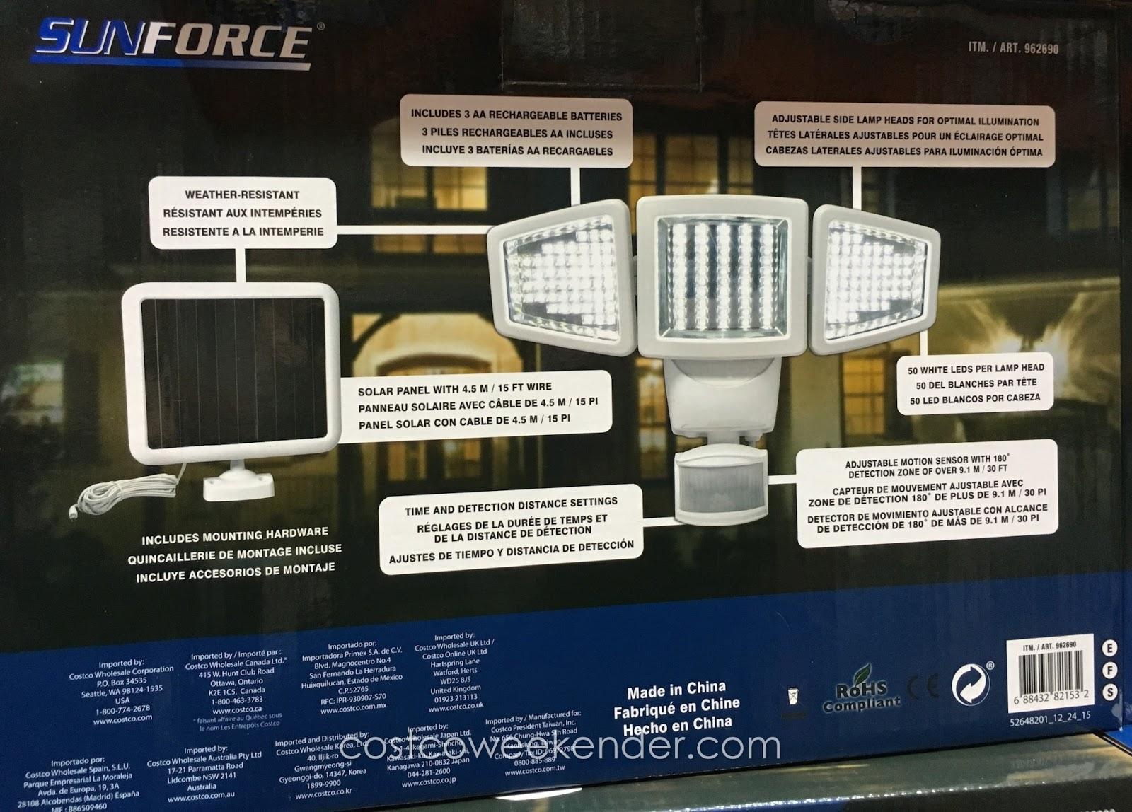 sunforce 150 led triple head solar motion activated light costco Camera with Motion Light Costco deter would be criminals with the sunforce 150 led triple head solar motion security light