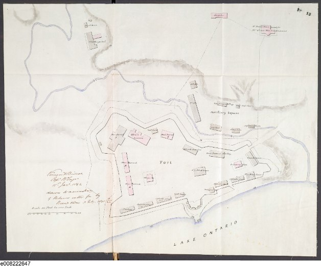 Fort York in 1842 from a British Army map by Capt. Vincent Biscoe, Royal Engineers.