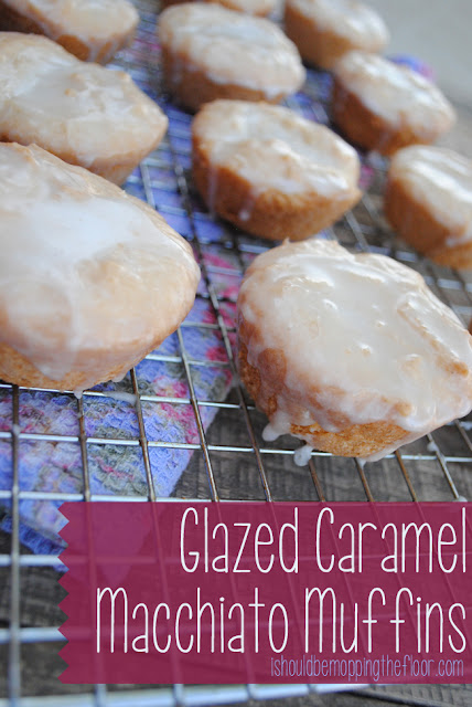 Glazed Caramel Macchiato Muffins: An easy 10-minute recipe with a dunk-n-soak glaze that takes these WAY over the top!