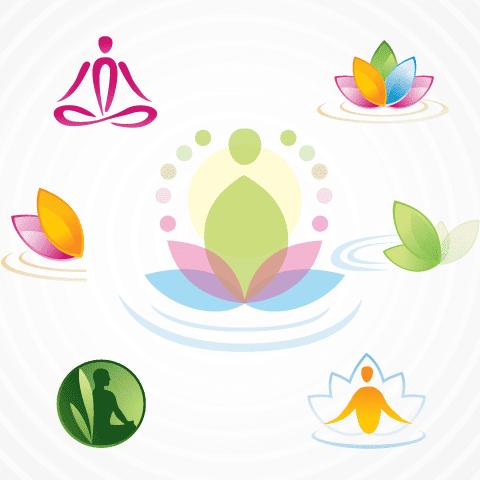 Logos de Yoga espitualidad - Vector