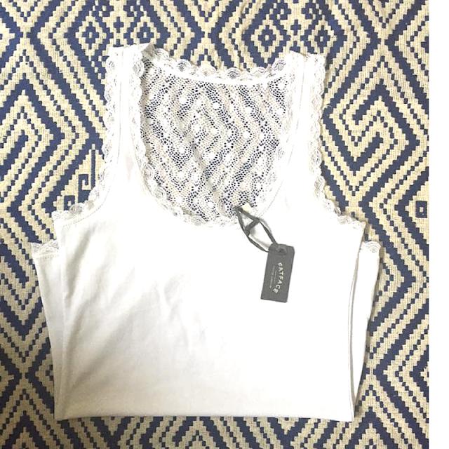 FatFace Plain White Lace Vest Kaleidoscope Peonies