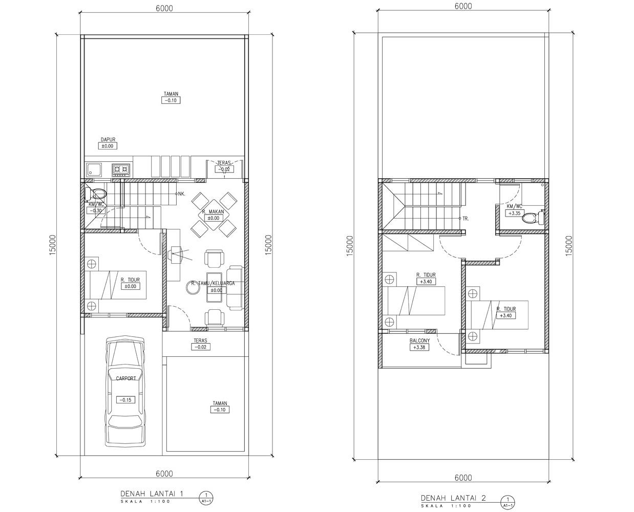 Denah rumah 2 lantai Minimalis  di Rumah Minimalis
