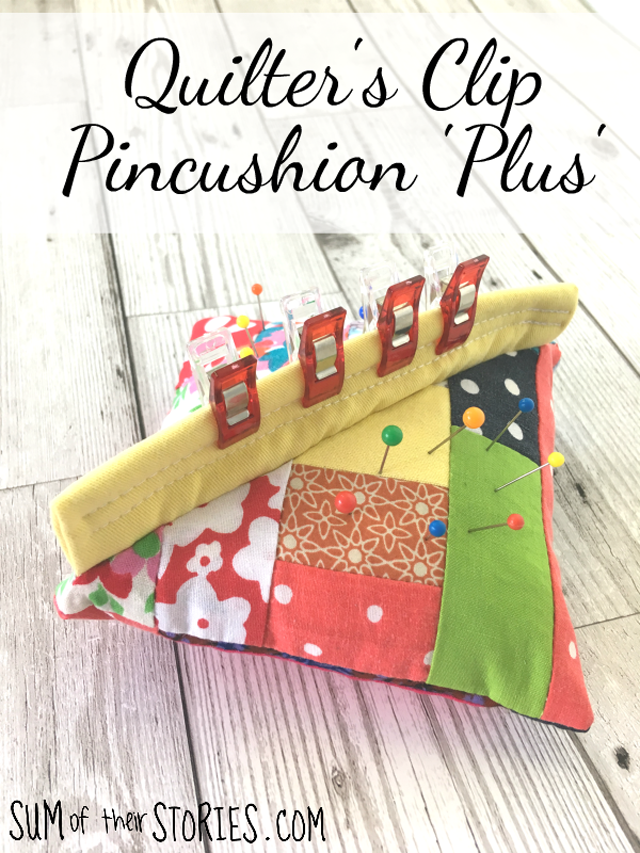 Learn how to make a pincushion that doubles as wonder clip holder. Tutorial by Sum of their Stories.