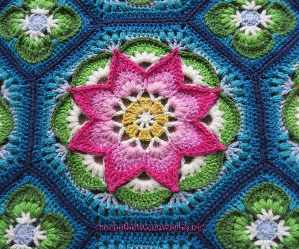 Crochet between worlds ta dah the lotus moon tiles afghan i researched online how we could make this scratchy horrid wool a little bit nicer and came across this article from the tricksy knitter advising to soak izmirmasajfo Gallery