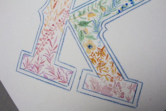 Draw on Monday #29 Abécédaire, graphic, graphisme, alphabet, design, watercolor, aquarelle, brush, floral pattern,
