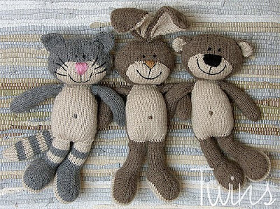 knitted bunny, knitted rabbit, knitted bear, knitted cat