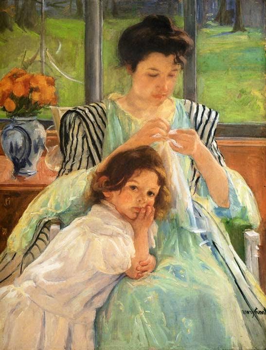 Jovem Mãe Costurando - Pinturas de Mary Cassatt | Mulheres na pintura