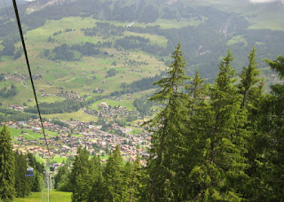 View of Lenk from the Lenk - Stoss gondola, Lenk, Switzerland