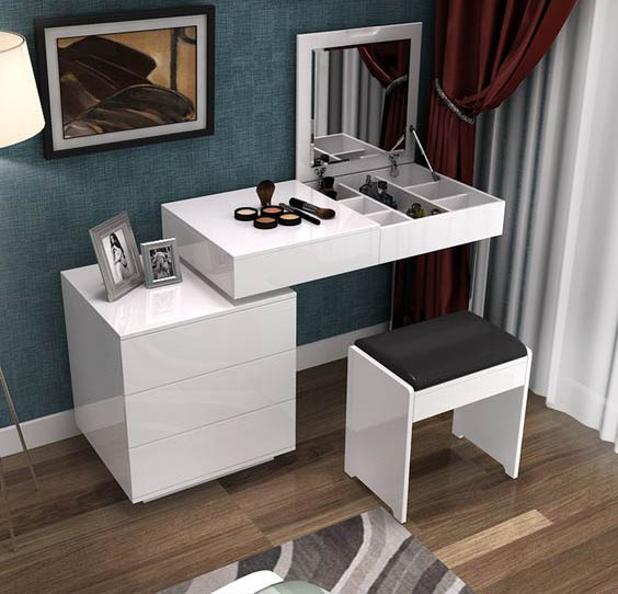 Ordinaire Elegant Modern Dressing Table Design For Bedroom Interior With Folding  Mirror