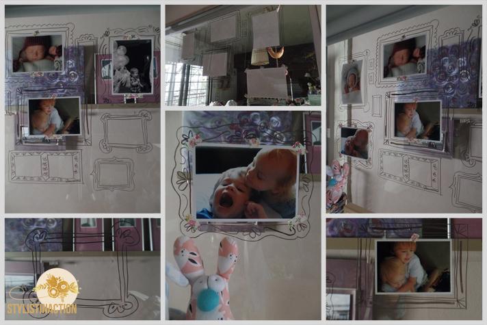 post DIY marcos para fotos dibujados. Proceso. Dibujando los marcos en el vidrio del cuarto de los chicos.