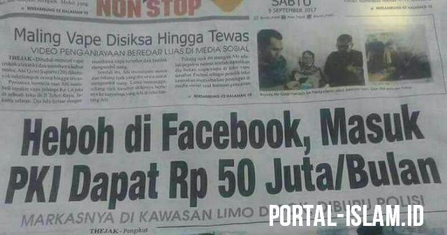 Jelang G30S/PKI, HEBOH di Facebook! Tawaran Masuk PKI Dapat Rp 50 Juta/Bulan