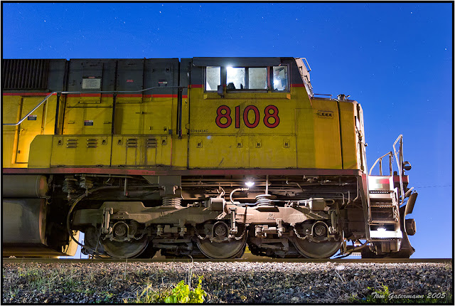 UP 8108 Waits at Union Pacific's Dupo Yard Under the Stars