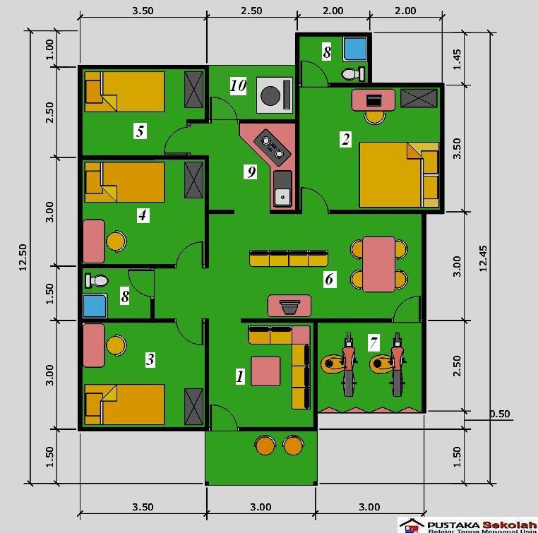 gambar denah rumah sederhana 3 kamar 4