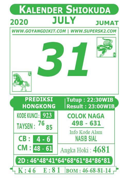 Kode syair Hongkong Jumat 31 Juli 2020 232